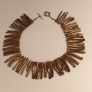 Jewelry - Gold coral necklace ( dyed ). Handcrafted.